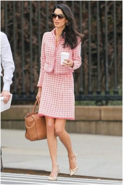 pink tweed suit